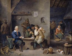 """Figures Gambling in a Tavern"" Painting by David Teniers the Younger From wikimedia.org"